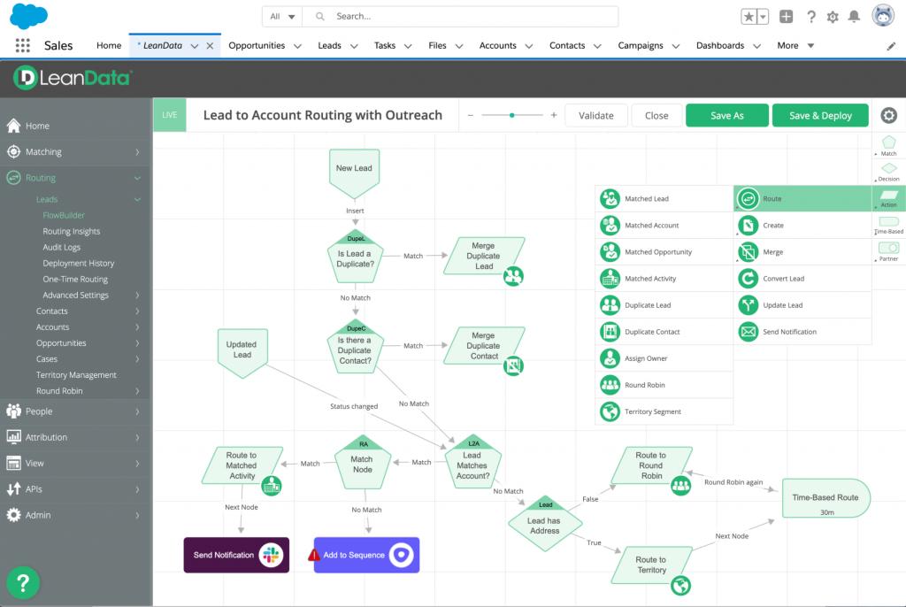 Account based marketing eszközök: LeanData  A LeanData azokat az adatokat szállítja, amelyek segítik a szoftver használóit a megfelelő accountokkal való kapcsolatfelvételben.
