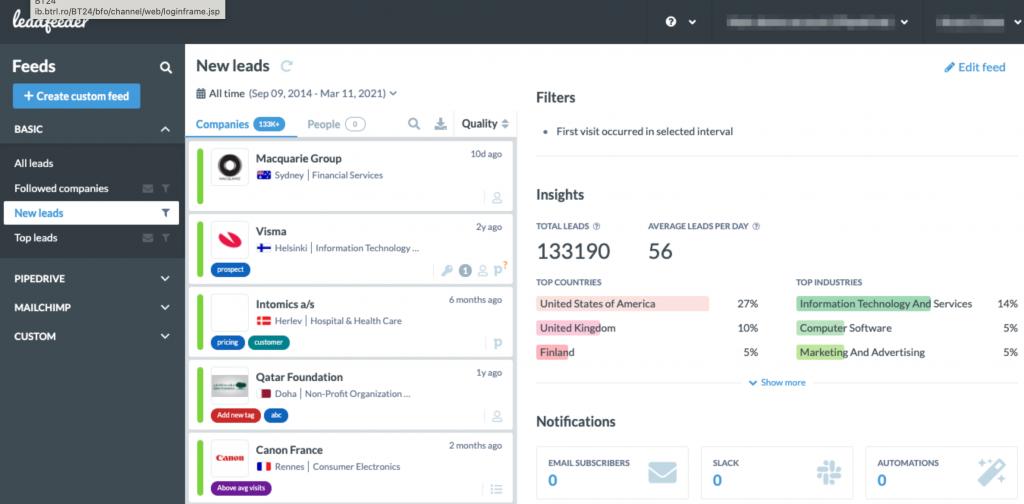Account based marketing eszközök: Leedfeeder